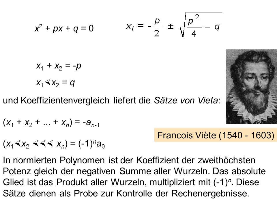 x2 + px + q = 0 x1 + x2 = -p. x1x2 = q. und Koeffizientenvergleich liefert die Sätze von Vieta: (x1 + x2 + ... + xn) = -an-1.