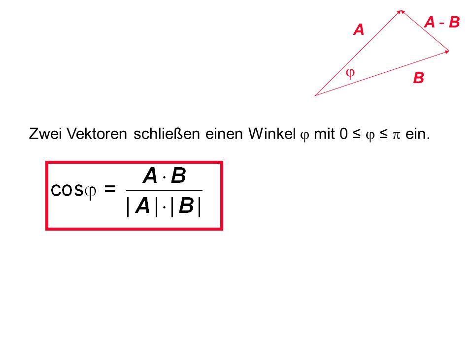 A - B A j B Zwei Vektoren schließen einen Winkel j mit 0 ≤ j ≤ p ein.