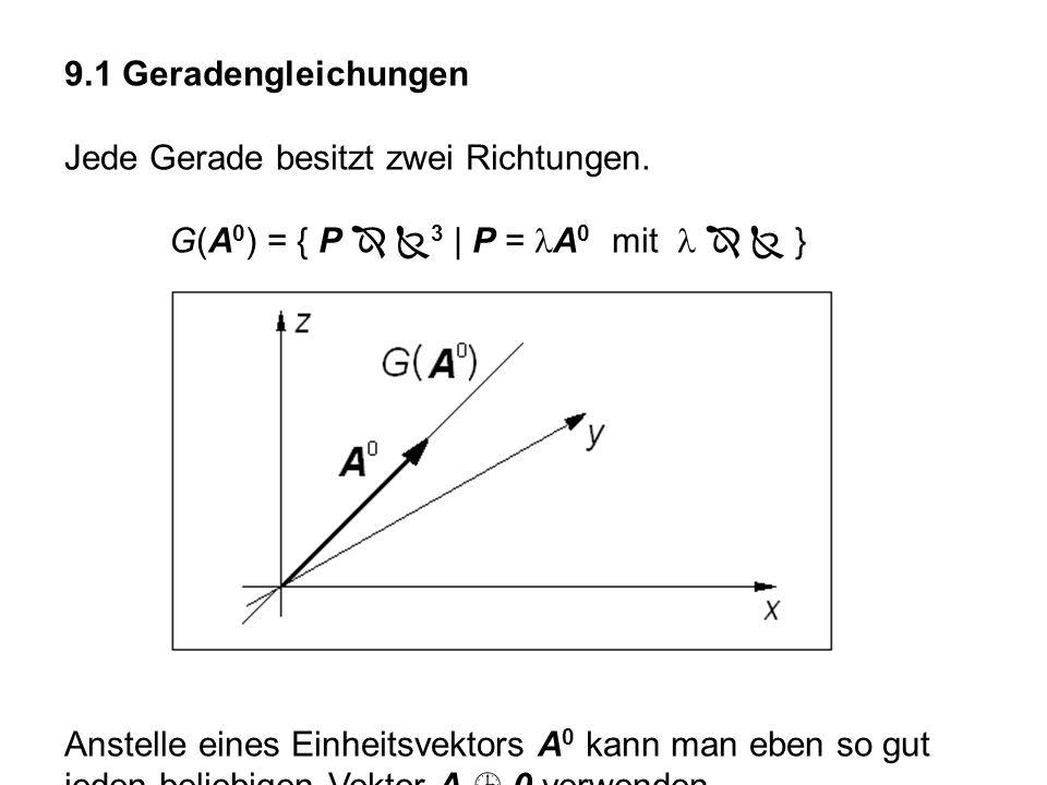 9.1 Geradengleichungen Jede Gerade besitzt zwei Richtungen. G(A0) = { P  3 | P = lA0 mit l   }