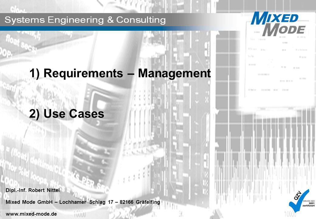 1) Requirements – Management