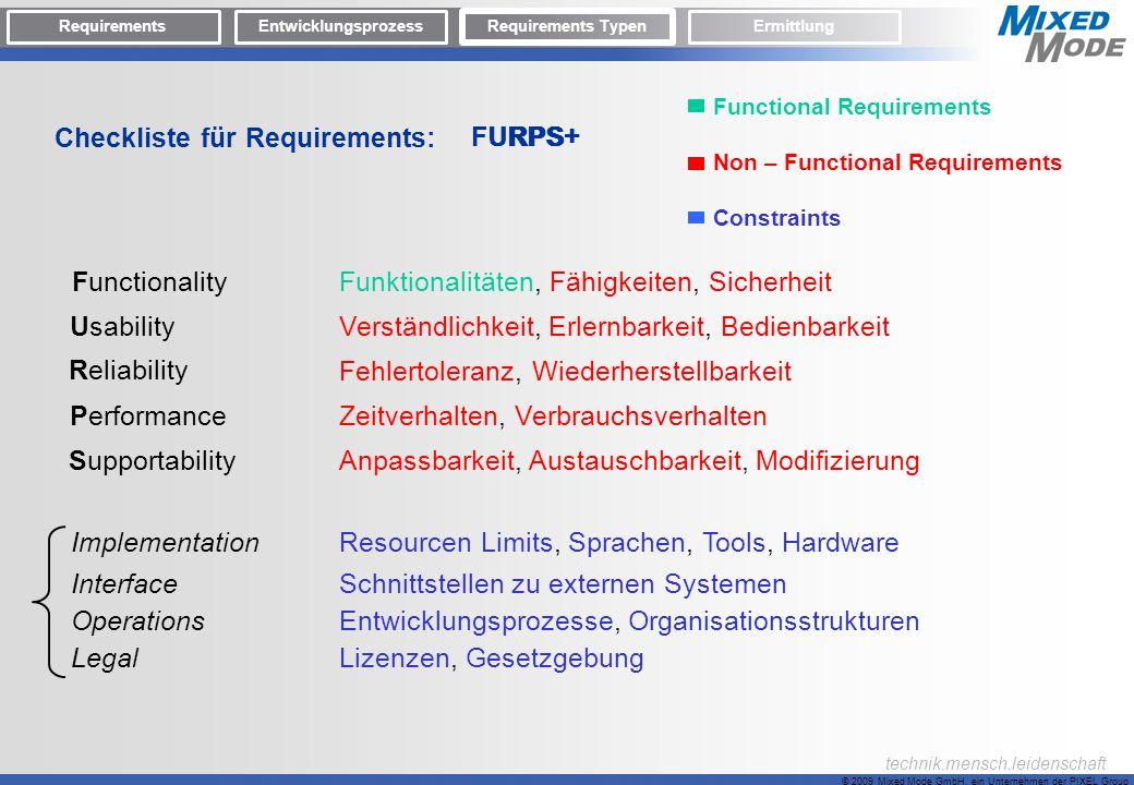 Checkliste für Requirements: F FURPS+ U R P S +