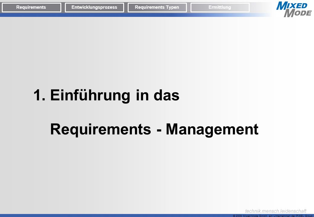 Requirements - Management