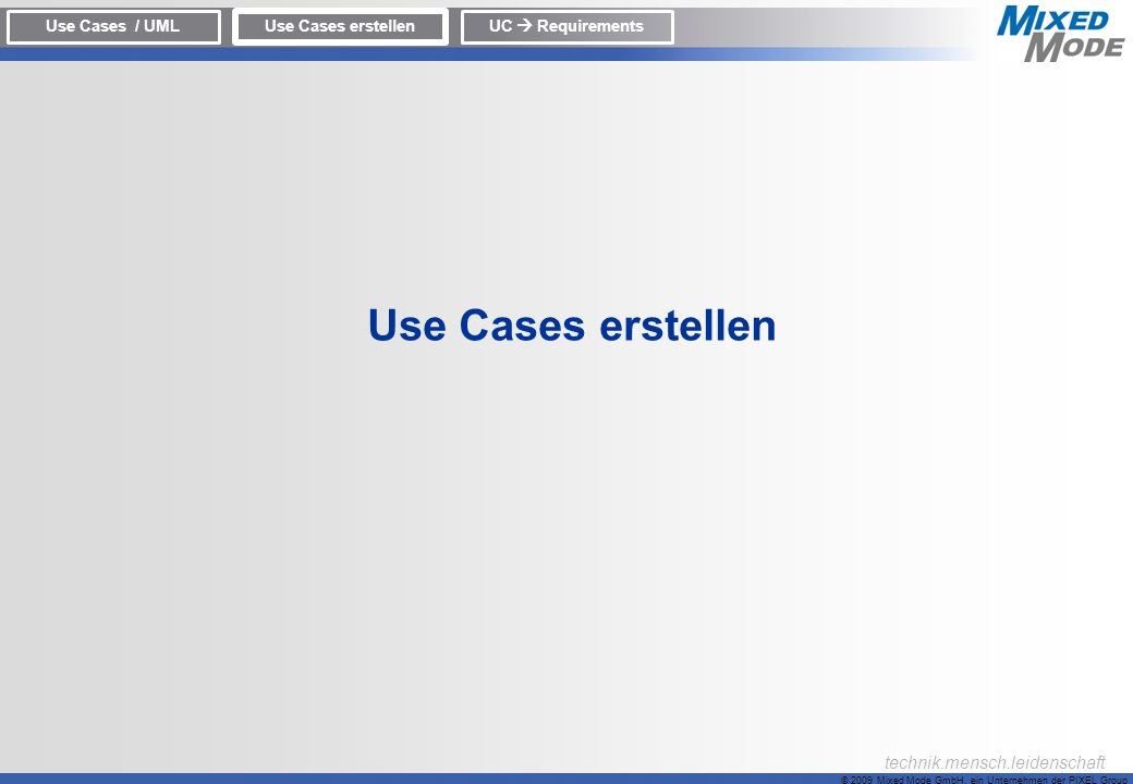 Use Cases erstellen Use Cases / UML Use Cases erstellen