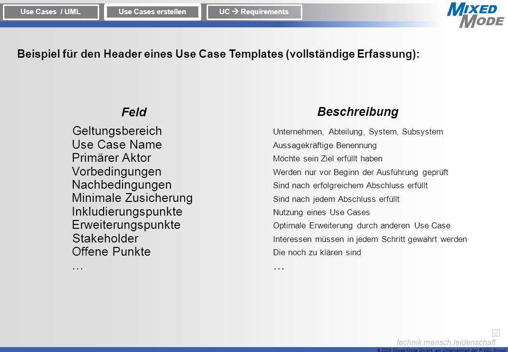 Feld Beschreibung Geltungsbereich Use Case Name Primärer Aktor