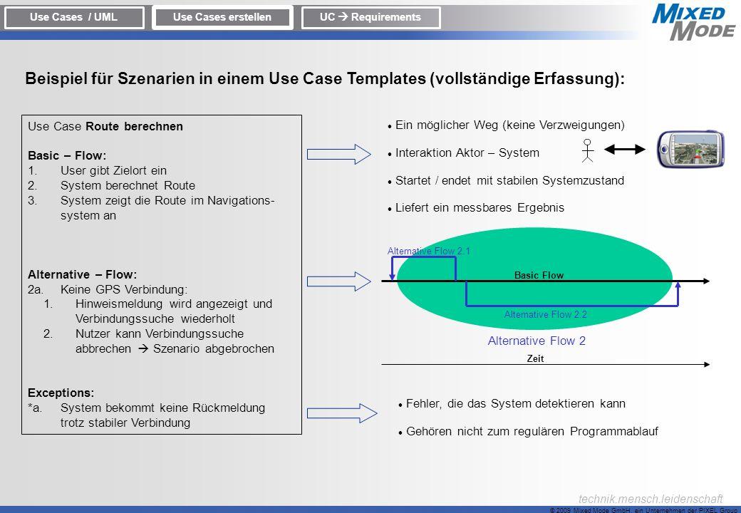Use Cases / UML Use Cases erstellen. UC  Requirements. Beispiel für Szenarien in einem Use Case Templates (vollständige Erfassung):