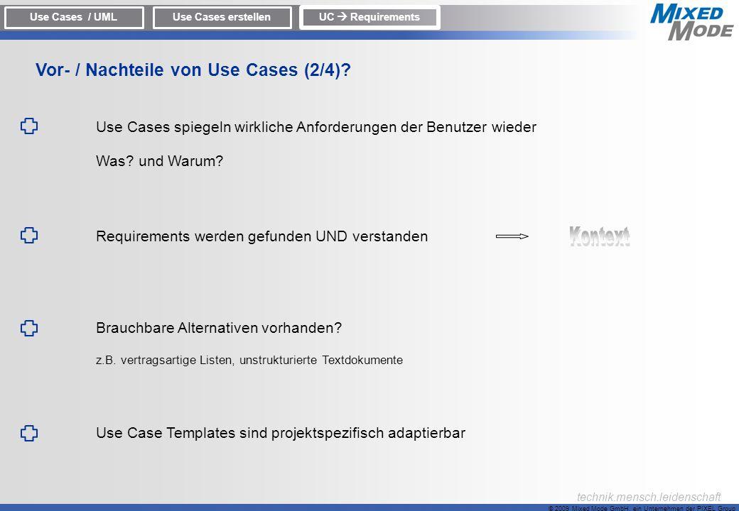 Vor- / Nachteile von Use Cases (2/4)