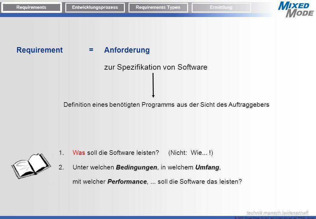 Requirement = Anforderung zur Spezifikation von Software