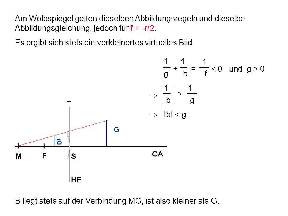 Am Wölbspiegel gelten dieselben Abbildungsregeln und dieselbe Abbildungsgleichung, jedoch für f = -r/2.