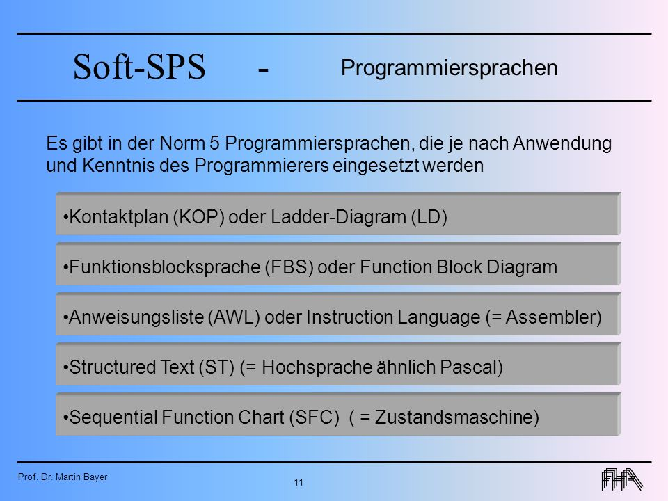 Programmiersprachen Es gibt in der Norm 5 Programmiersprachen, die je nach Anwendung und Kenntnis des Programmierers eingesetzt werden.