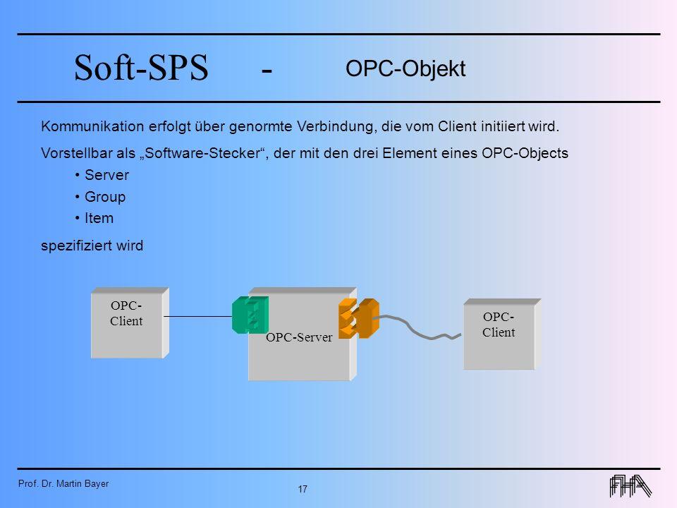 OPC-Objekt Kommunikation erfolgt über genormte Verbindung, die vom Client initiiert wird.
