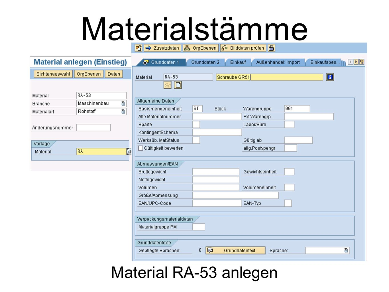 Materialstämme Material RA-53 anlegen