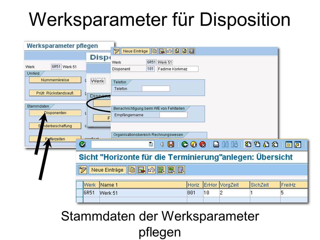 Werksparameter für Disposition