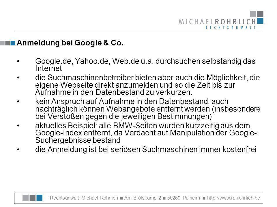 Anmeldung bei Google & Co.