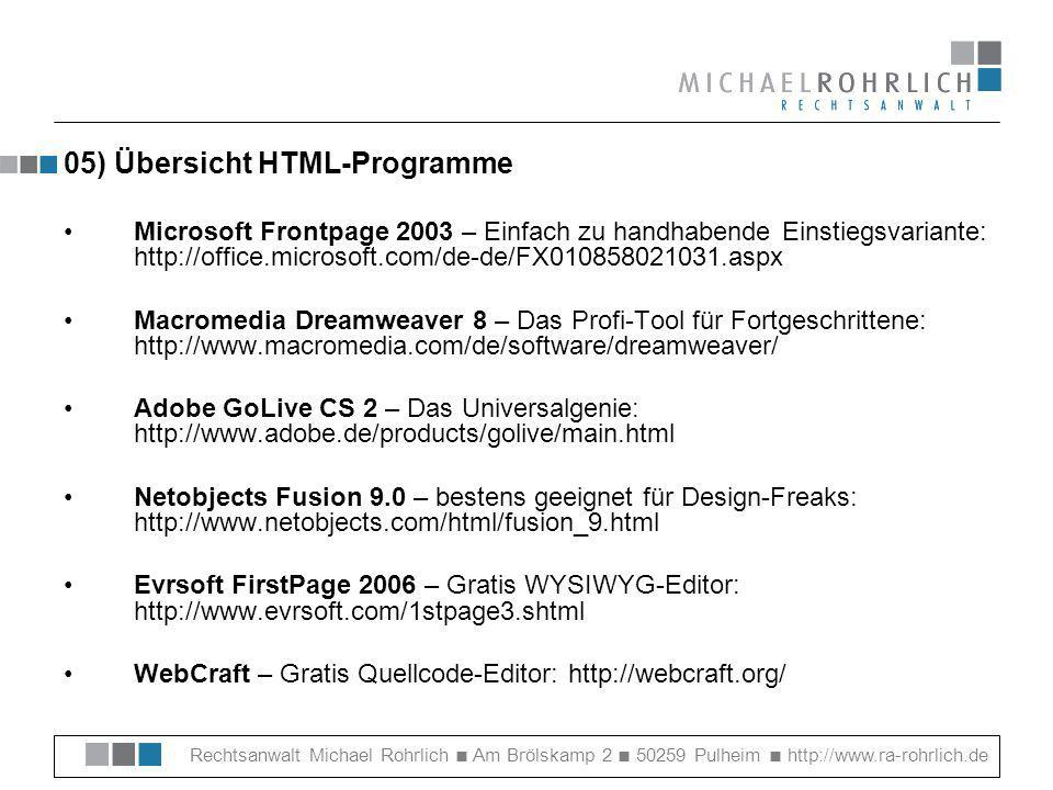 05) Übersicht HTML-Programme