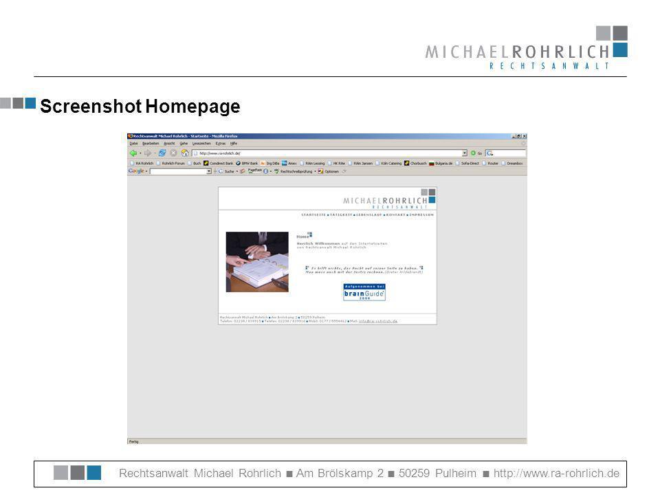 Screenshot Homepage Rechtsanwalt Michael Rohrlich ■ Am Brölskamp 2 ■ 50259 Pulheim ■ http://www.ra-rohrlich.de.