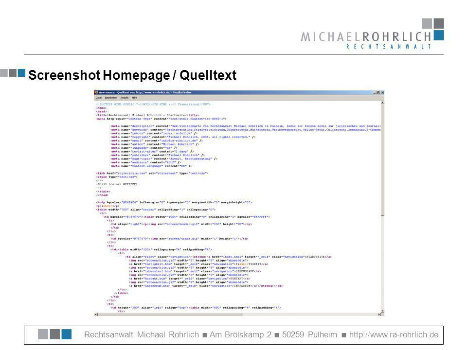 Screenshot Homepage / Quelltext