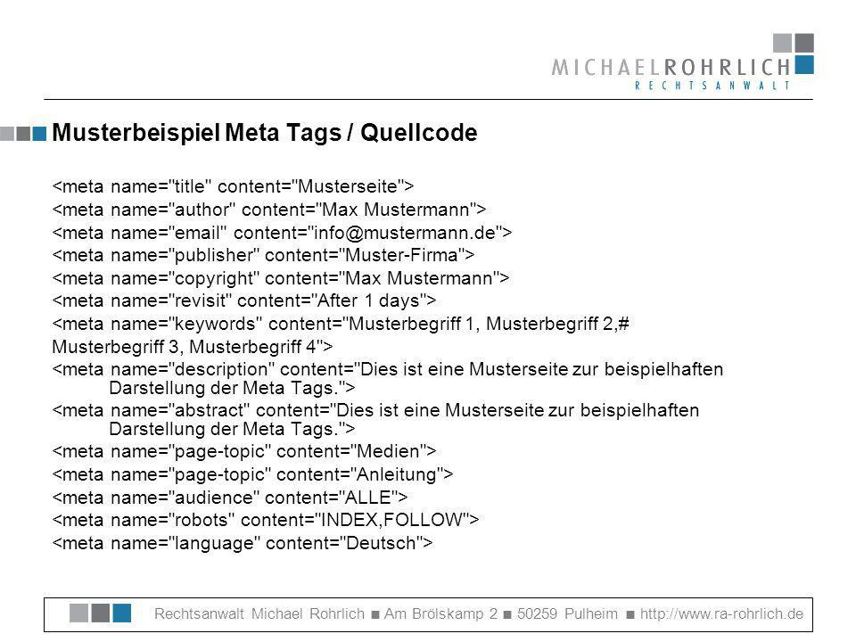 Musterbeispiel Meta Tags / Quellcode