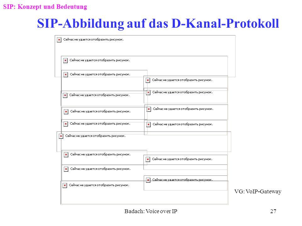 SIP-Abbildung auf das D-Kanal-Protokoll