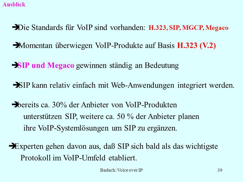 Die Standards für VoIP sind vorhanden: H.323, SIP, MGCP, Megaco