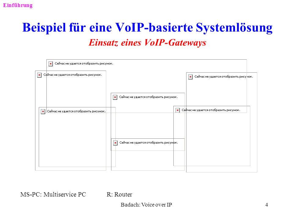 Einführung Beispiel für eine VoIP-basierte Systemlösung Einsatz eines VoIP-Gateways. MS-PC: Multiservice PC R: Router.