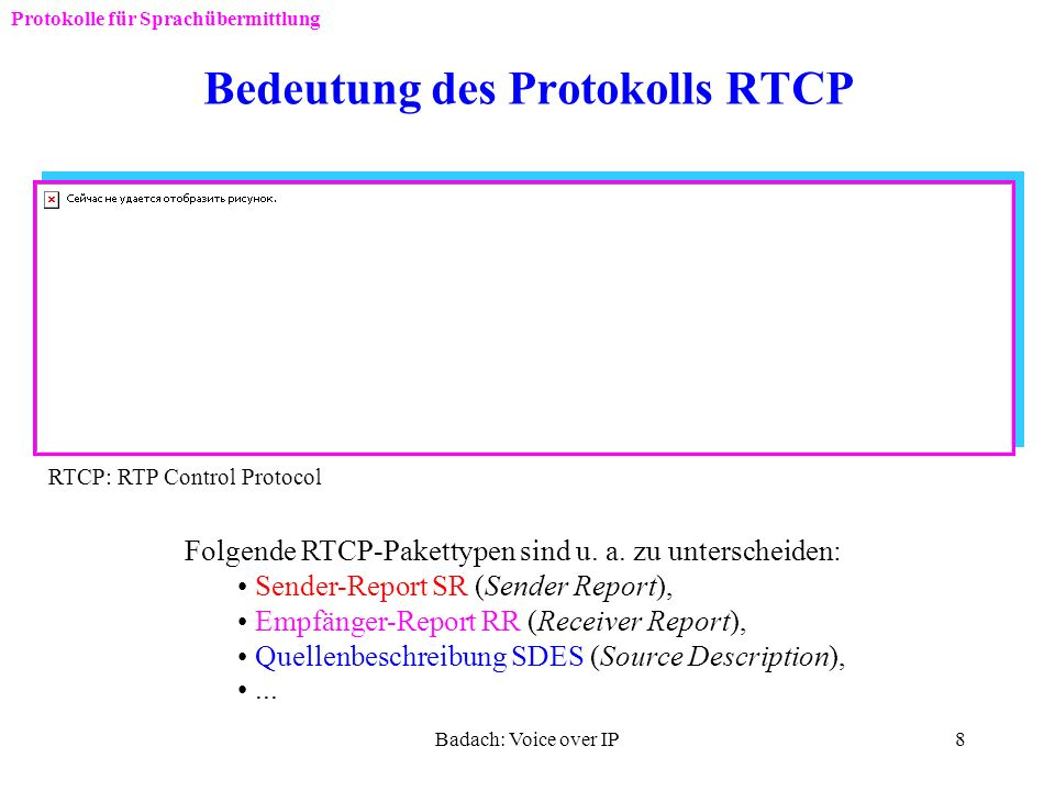 Bedeutung des Protokolls RTCP