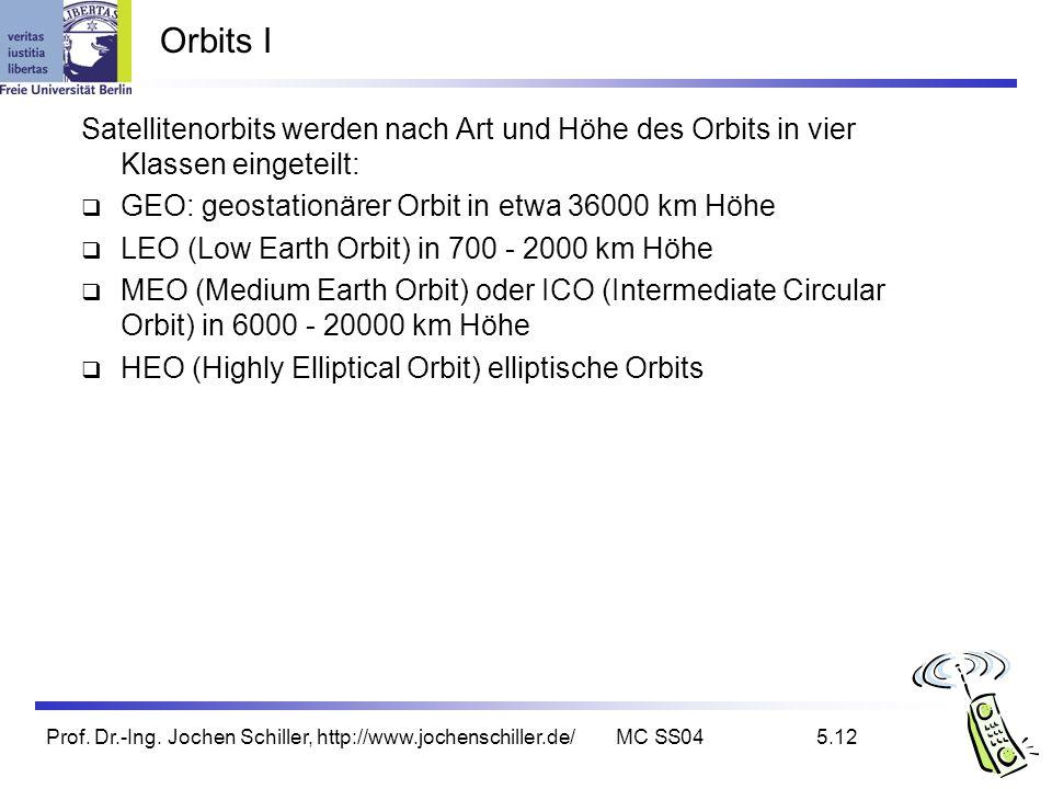 Orbits I Satellitenorbits werden nach Art und Höhe des Orbits in vier Klassen eingeteilt: GEO: geostationärer Orbit in etwa 36000 km Höhe.