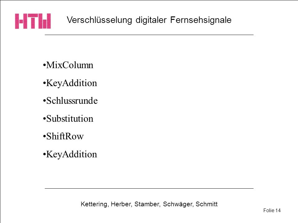 MixColumn KeyAddition Schlussrunde Substitution ShiftRow