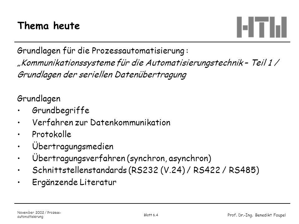 Thema heute Grundlagen für die Prozessautomatisierung :
