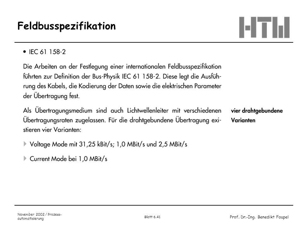 Feldbusspezifikation