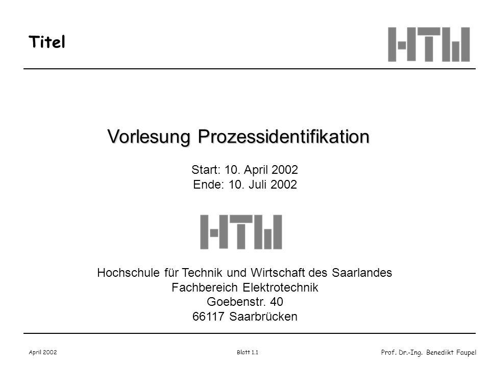 Vorlesung Prozessidentifikation