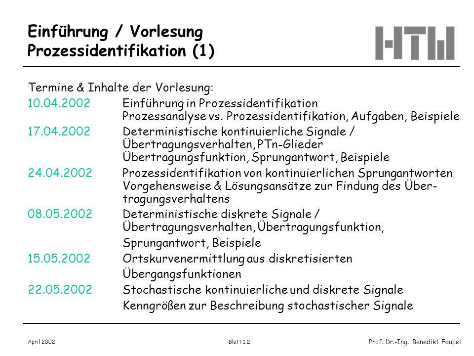 Einführung / Vorlesung Prozessidentifikation (1)