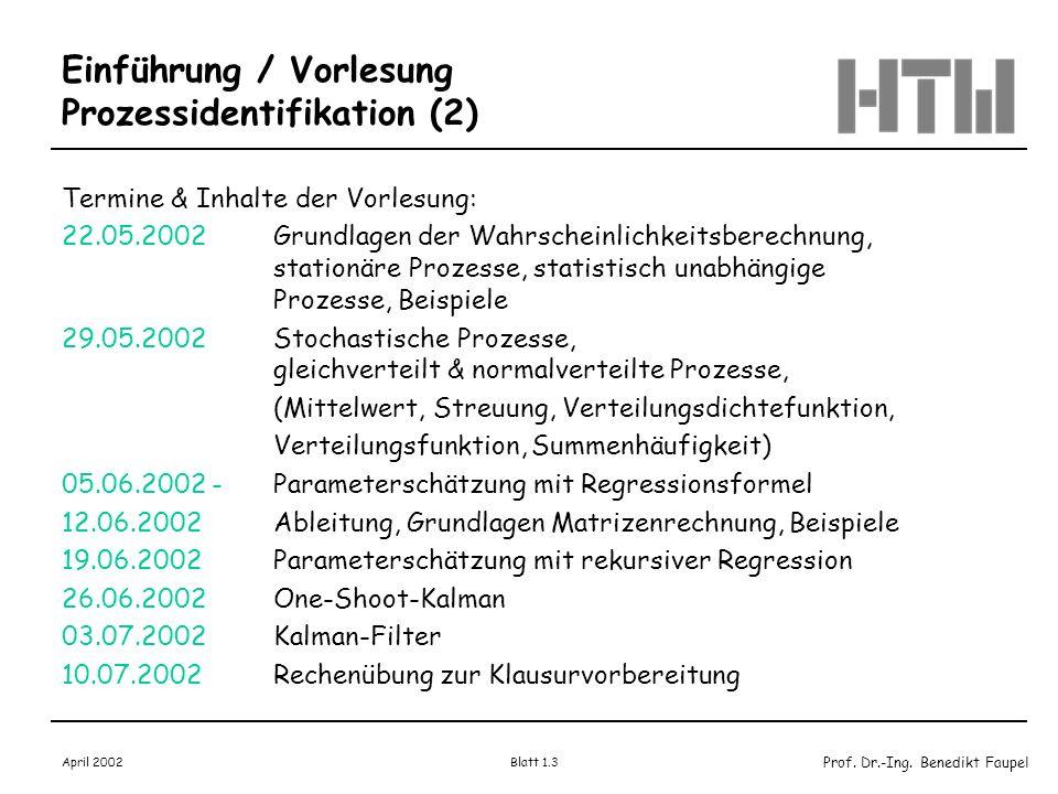 Einführung / Vorlesung Prozessidentifikation (2)