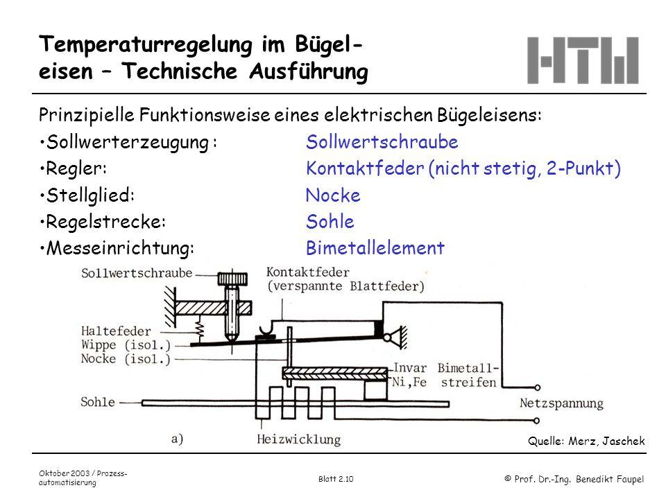 Temperaturregelung im Bügel-eisen – Technische Ausführung