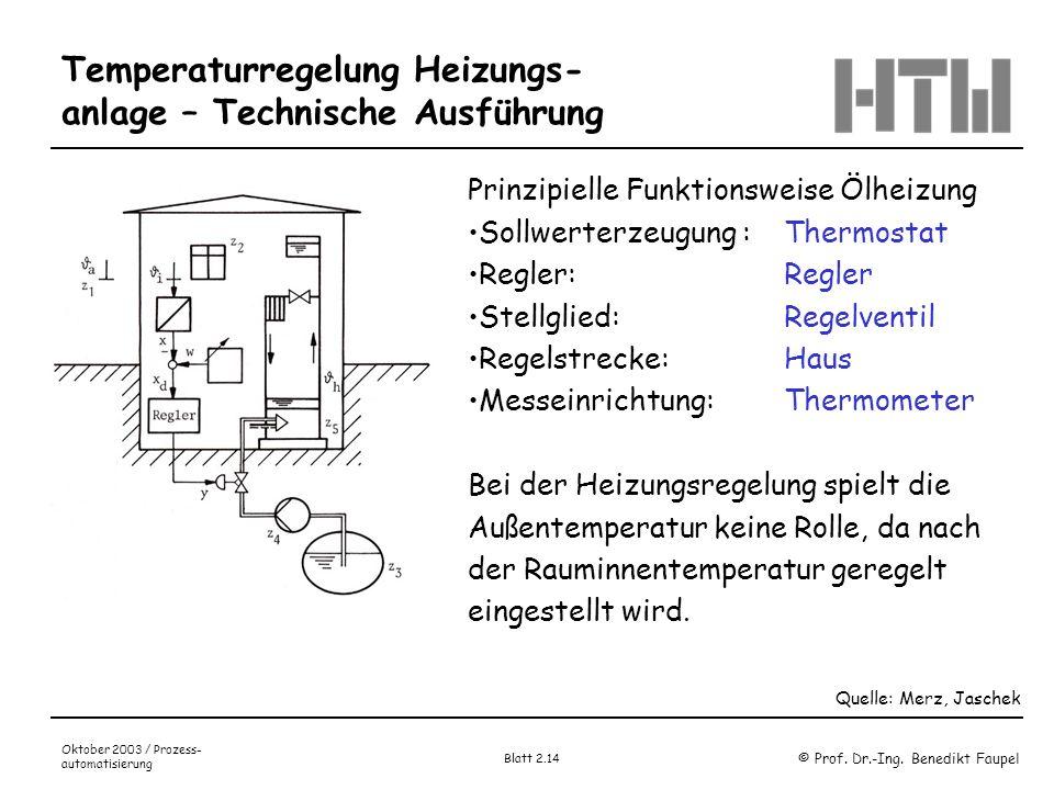 Temperaturregelung Heizungs-anlage – Technische Ausführung