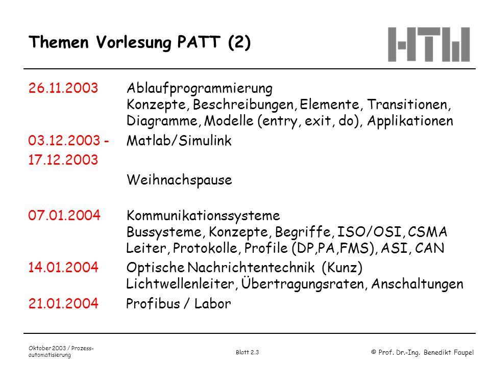 Themen Vorlesung PATT (2)