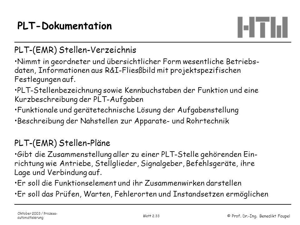PLT-Dokumentation PLT-(EMR) Stellen-Verzeichnis