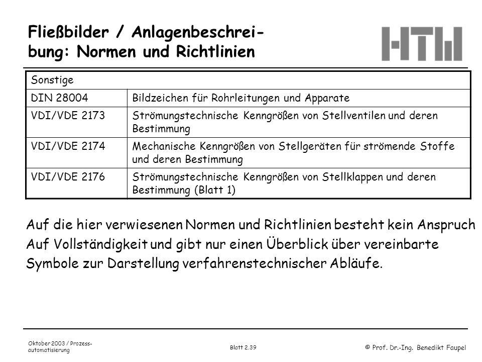 Fließbilder / Anlagenbeschrei-bung: Normen und Richtlinien