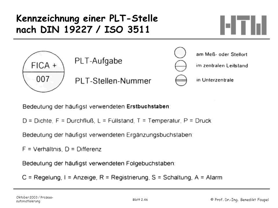 Kennzeichnung einer PLT-Stelle nach DIN 19227 / ISO 3511