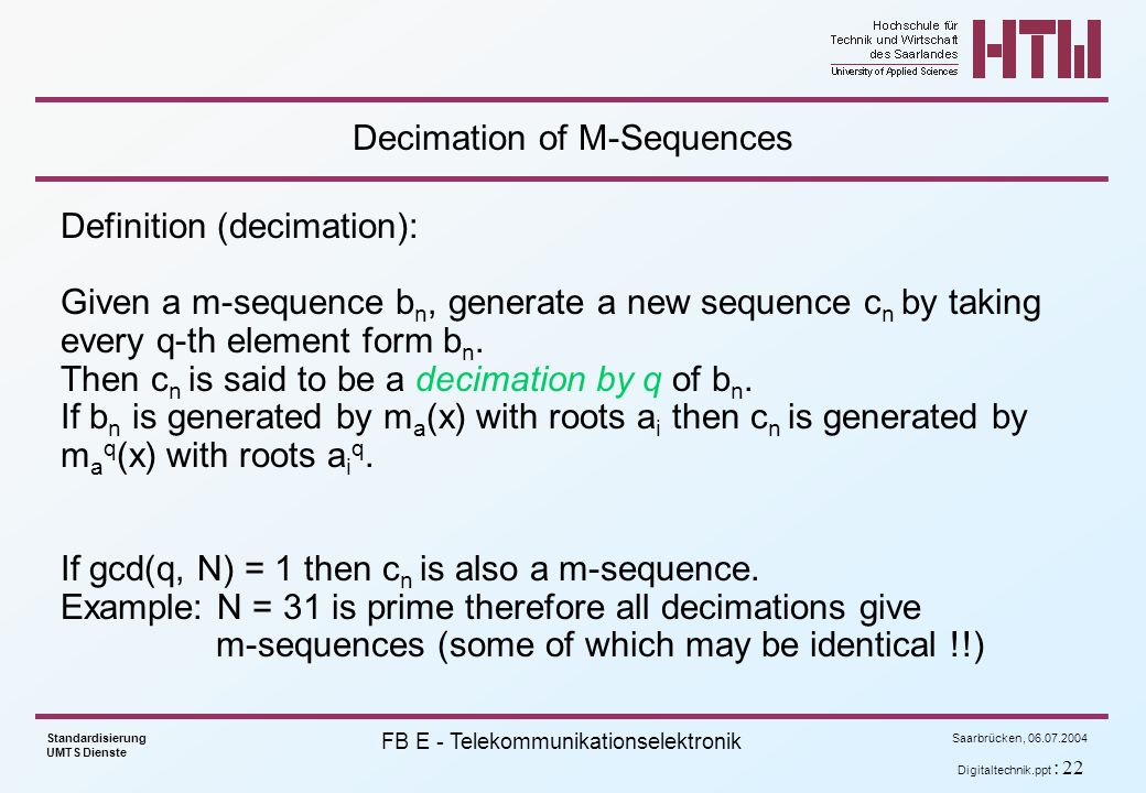 Decimation of M-Sequences