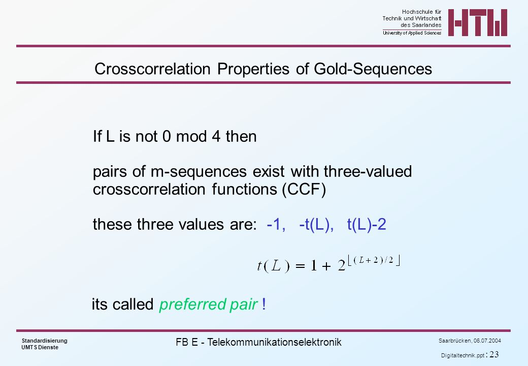 Crosscorrelation Properties of Gold-Sequences