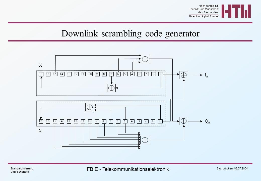 Downlink scrambling code generator
