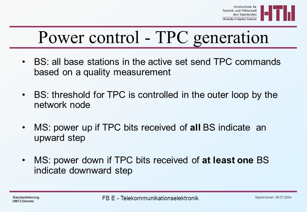 Power control - TPC generation