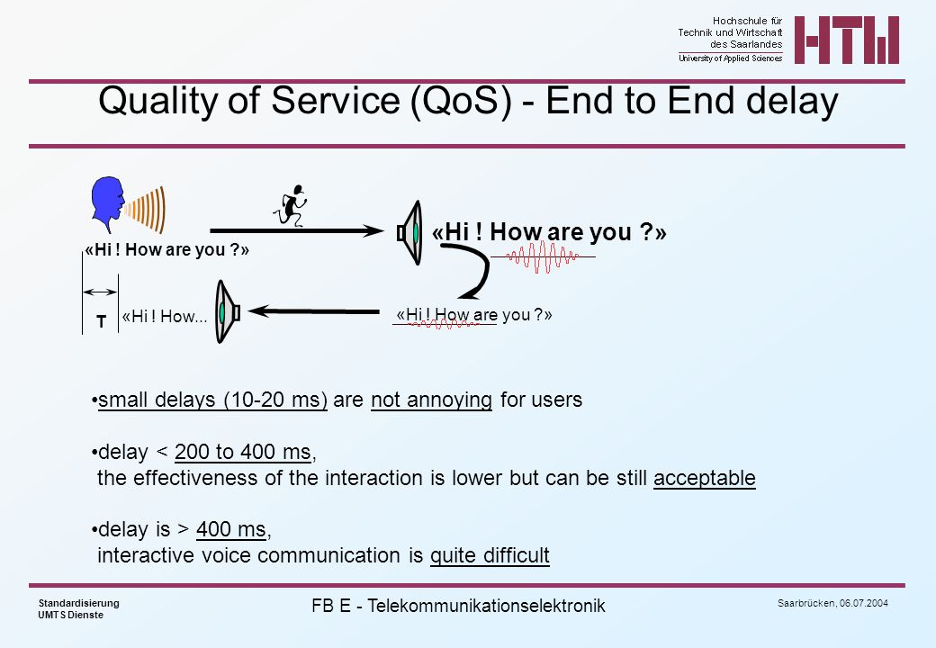 Quality of Service (QoS) - End to End delay