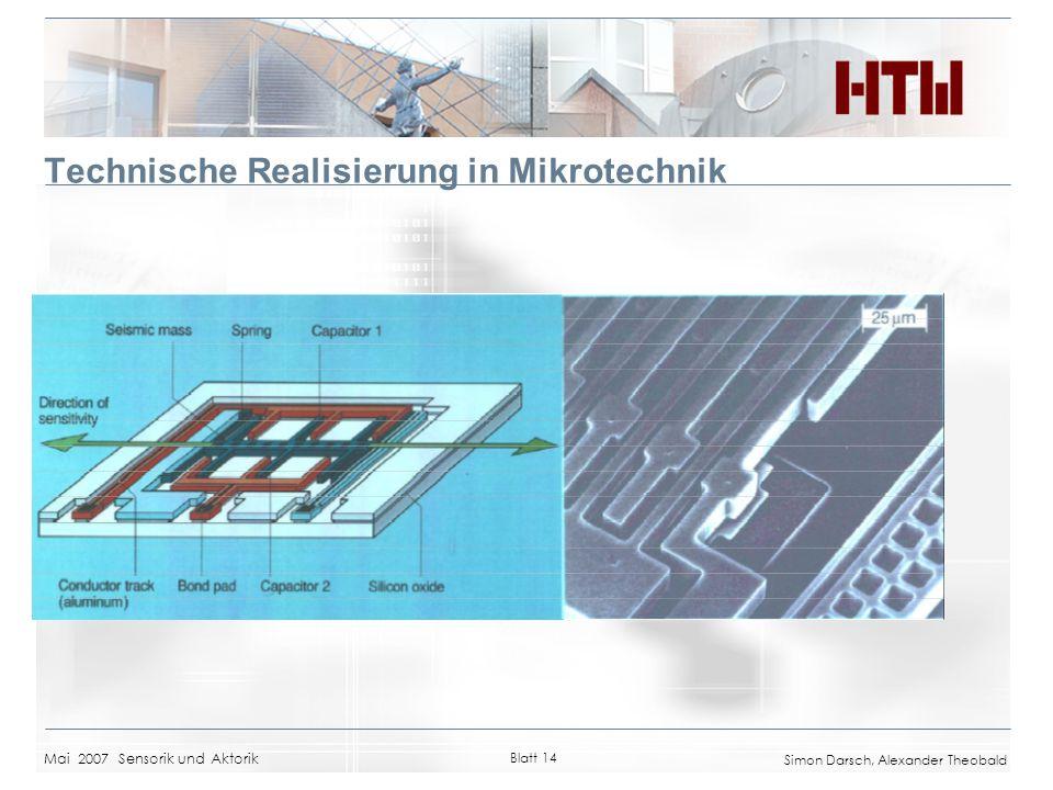 Technische Realisierung in Mikrotechnik