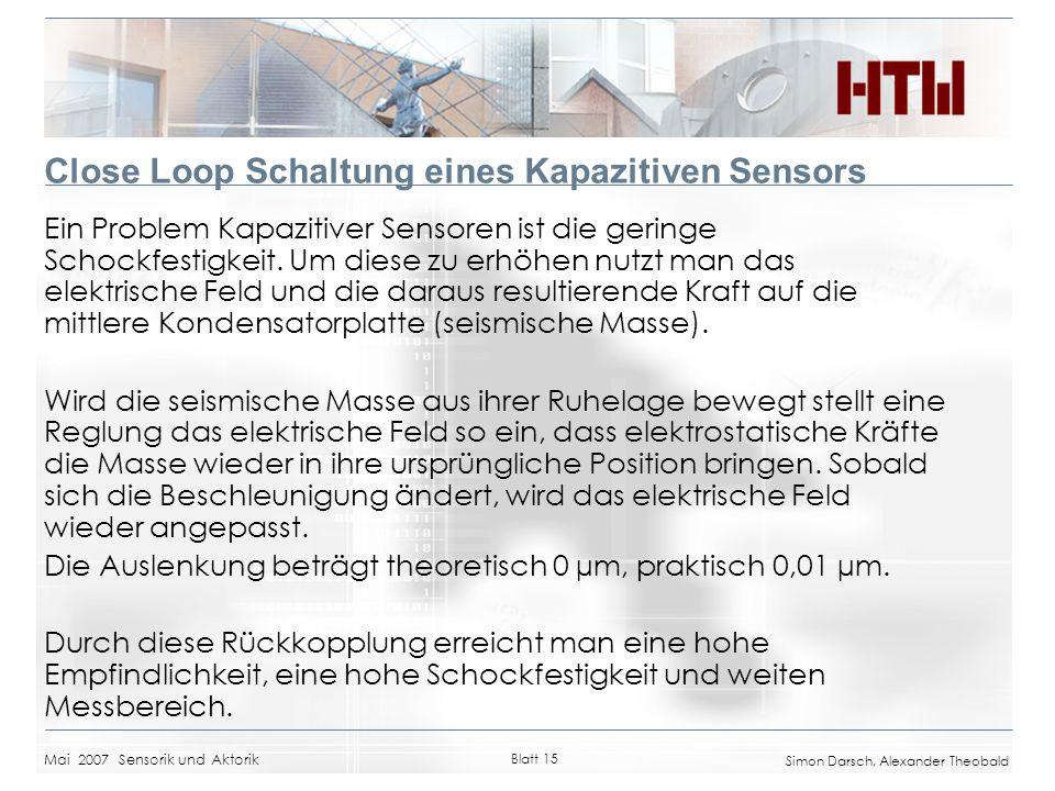 Close Loop Schaltung eines Kapazitiven Sensors