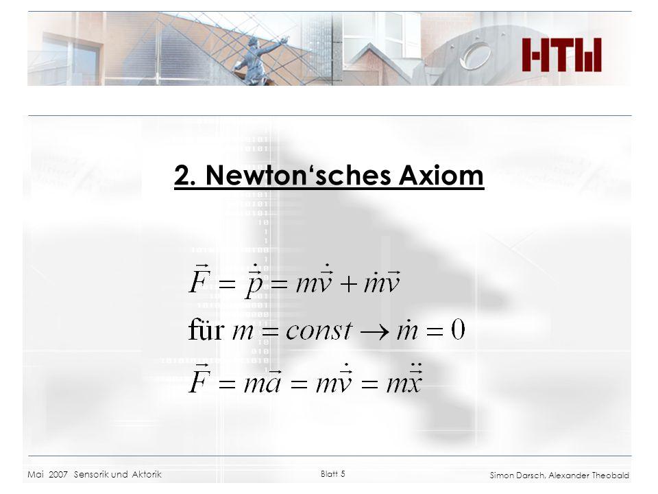 2. Newton'sches Axiom Mai 2007 Sensorik und Aktorik Blatt 5