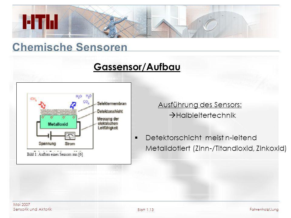 Chemische Sensoren Gassensor/Aufbau Ausführung des Sensors:
