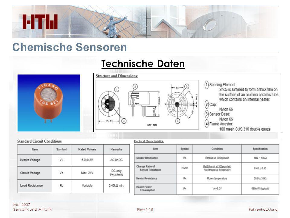 Chemische Sensoren Technische Daten Mai 2007 Sensorik und Aktorik