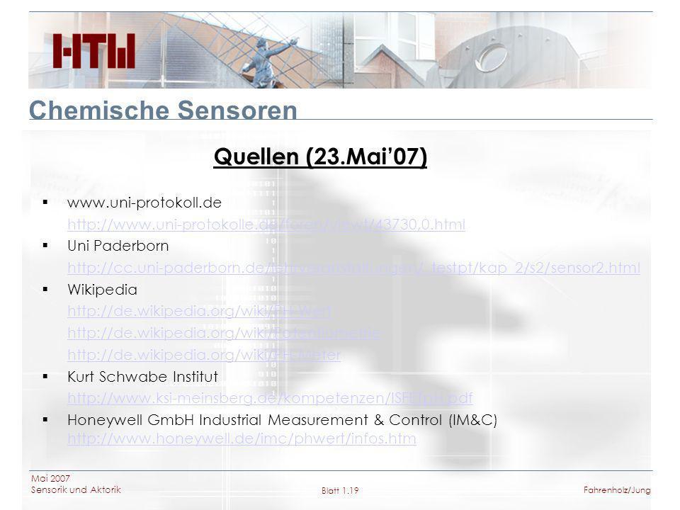 Chemische Sensoren Quellen (23.Mai'07) www.uni-protokoll.de