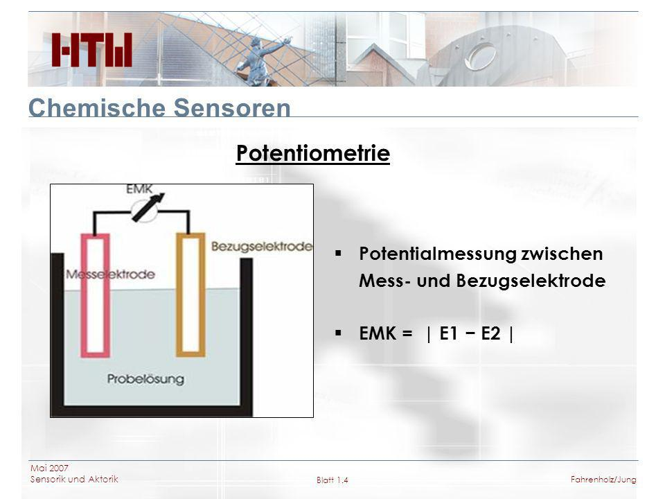 Chemische Sensoren Potentiometrie Potentialmessung zwischen